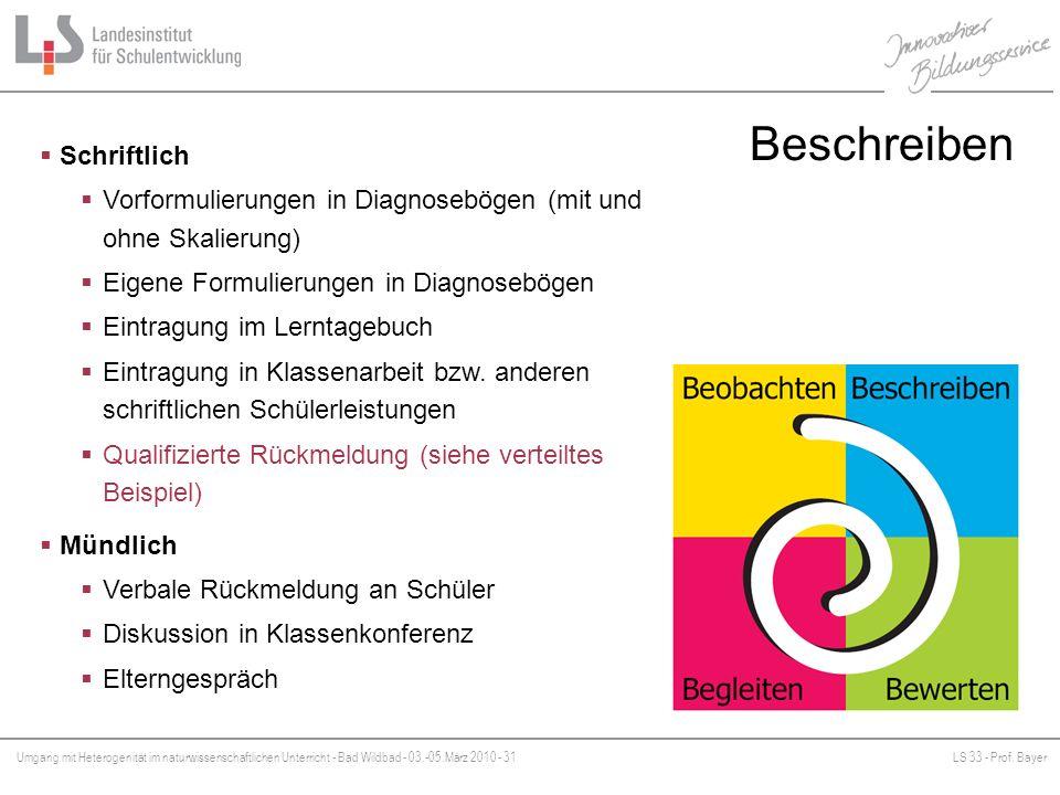 Umgang mit Heterogenität im naturwissenschaftlichen Unterricht - Bad Wildbad - 03.-05.März 2010 - 31LS 33 - Prof. Bayer Platzhalter Beschreiben Schrif