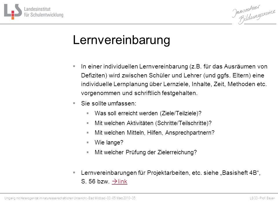 Umgang mit Heterogenität im naturwissenschaftlichen Unterricht - Bad Wildbad - 03.-05.März 2010 - 35LS 33 - Prof. Bayer Platzhalter Lernvereinbarung I