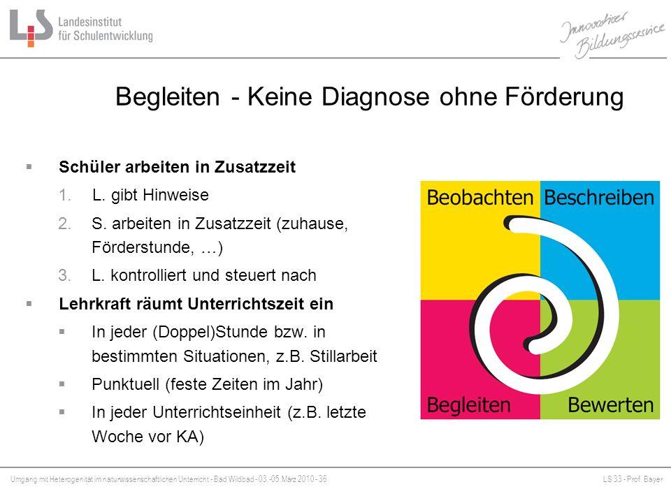 Umgang mit Heterogenität im naturwissenschaftlichen Unterricht - Bad Wildbad - 03.-05.März 2010 - 36LS 33 - Prof. Bayer Platzhalter Begleiten - Keine