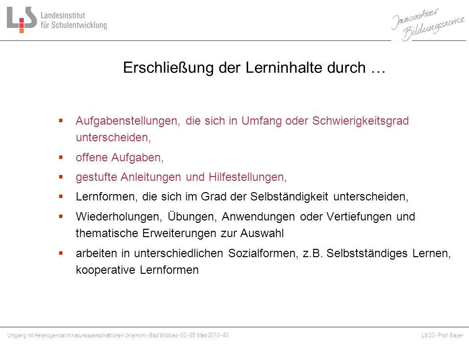 Umgang mit Heterogenität im naturwissenschaftlichen Unterricht - Bad Wildbad - 03.-05.März 2010 - 40LS 33 - Prof. Bayer Platzhalter Erschließung der L