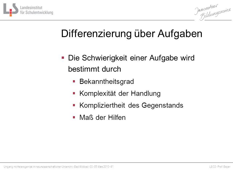 Umgang mit Heterogenität im naturwissenschaftlichen Unterricht - Bad Wildbad - 03.-05.März 2010 - 41LS 33 - Prof. Bayer Platzhalter Differenzierung üb