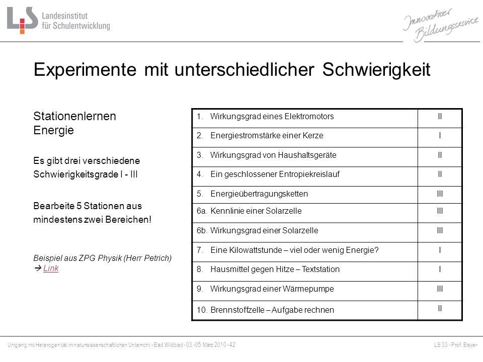 Umgang mit Heterogenität im naturwissenschaftlichen Unterricht - Bad Wildbad - 03.-05.März 2010 - 42LS 33 - Prof. Bayer Platzhalter Experimente mit un