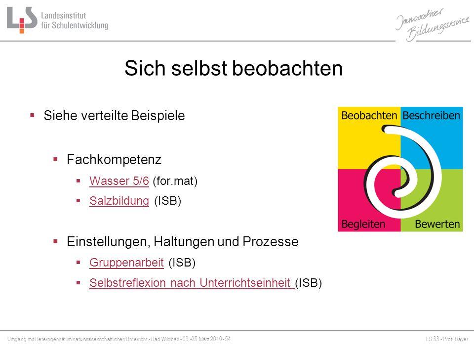 Umgang mit Heterogenität im naturwissenschaftlichen Unterricht - Bad Wildbad - 03.-05.März 2010 - 54LS 33 - Prof. Bayer Platzhalter Sich selbst beobac
