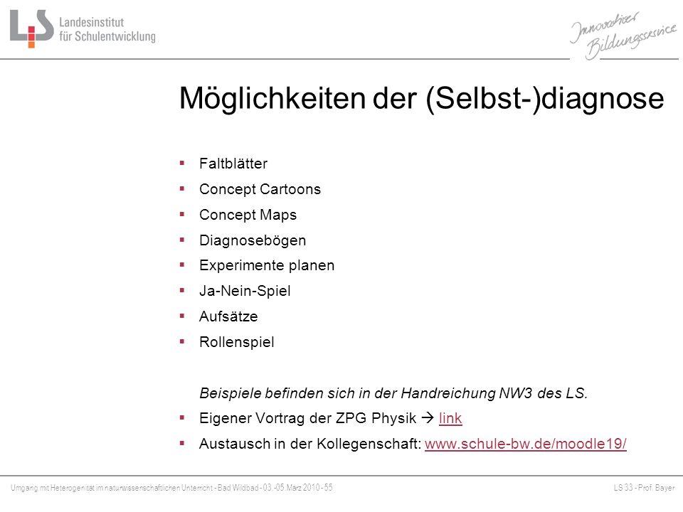 Umgang mit Heterogenität im naturwissenschaftlichen Unterricht - Bad Wildbad - 03.-05.März 2010 - 55LS 33 - Prof. Bayer Platzhalter Möglichkeiten der