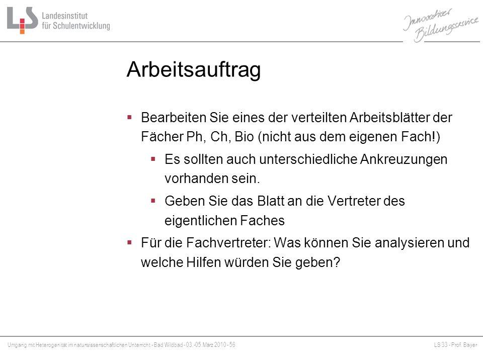 Umgang mit Heterogenität im naturwissenschaftlichen Unterricht - Bad Wildbad - 03.-05.März 2010 - 56LS 33 - Prof. Bayer Platzhalter Arbeitsauftrag Bea