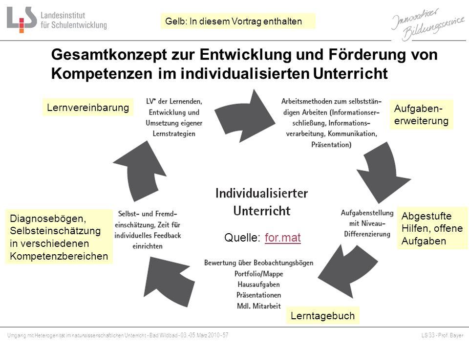 Umgang mit Heterogenität im naturwissenschaftlichen Unterricht - Bad Wildbad - 03.-05.März 2010 - 57LS 33 - Prof. Bayer Platzhalter Gesamtkonzept zur