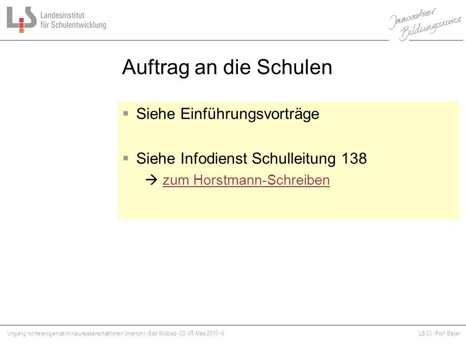 Umgang mit Heterogenität im naturwissenschaftlichen Unterricht - Bad Wildbad - 03.-05.März 2010 - 6LS 33 - Prof. Bayer Platzhalter Auftrag an die Schu