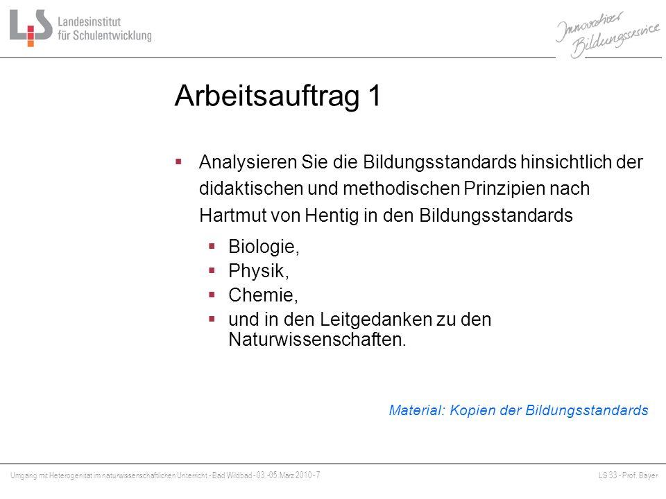 Umgang mit Heterogenität im naturwissenschaftlichen Unterricht - Bad Wildbad - 03.-05.März 2010 - 7LS 33 - Prof. Bayer Platzhalter Arbeitsauftrag 1 An