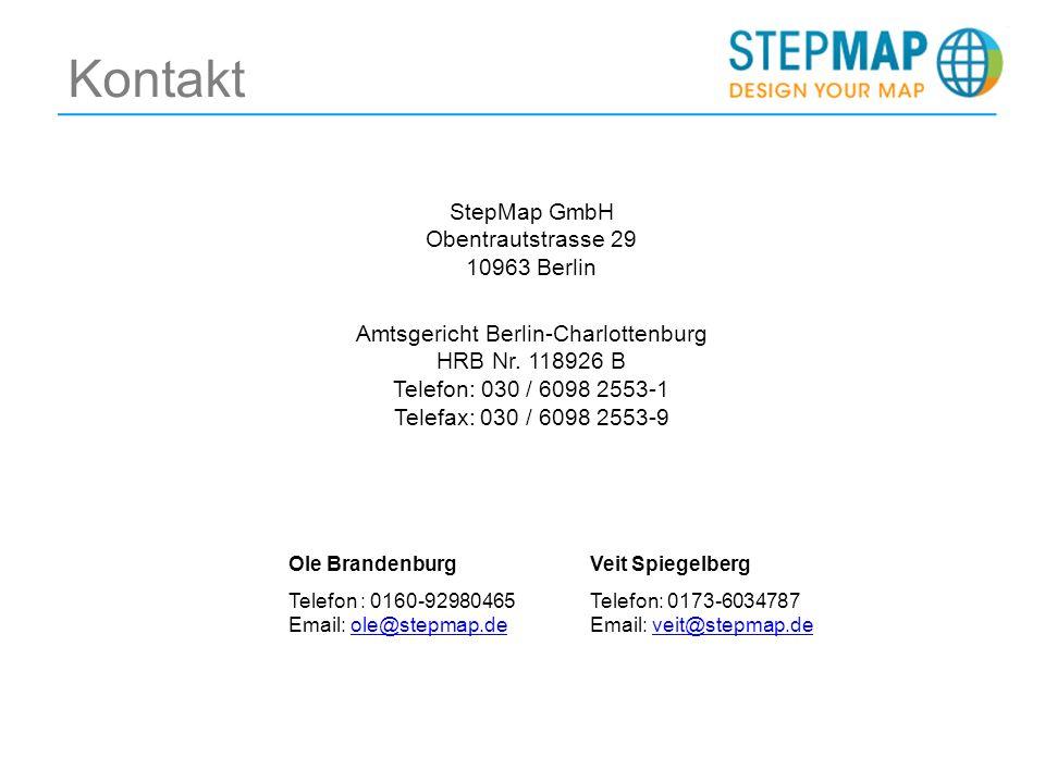 Kontakt StepMap GmbH Obentrautstrasse 29 10963 Berlin Amtsgericht Berlin-Charlottenburg HRB Nr.