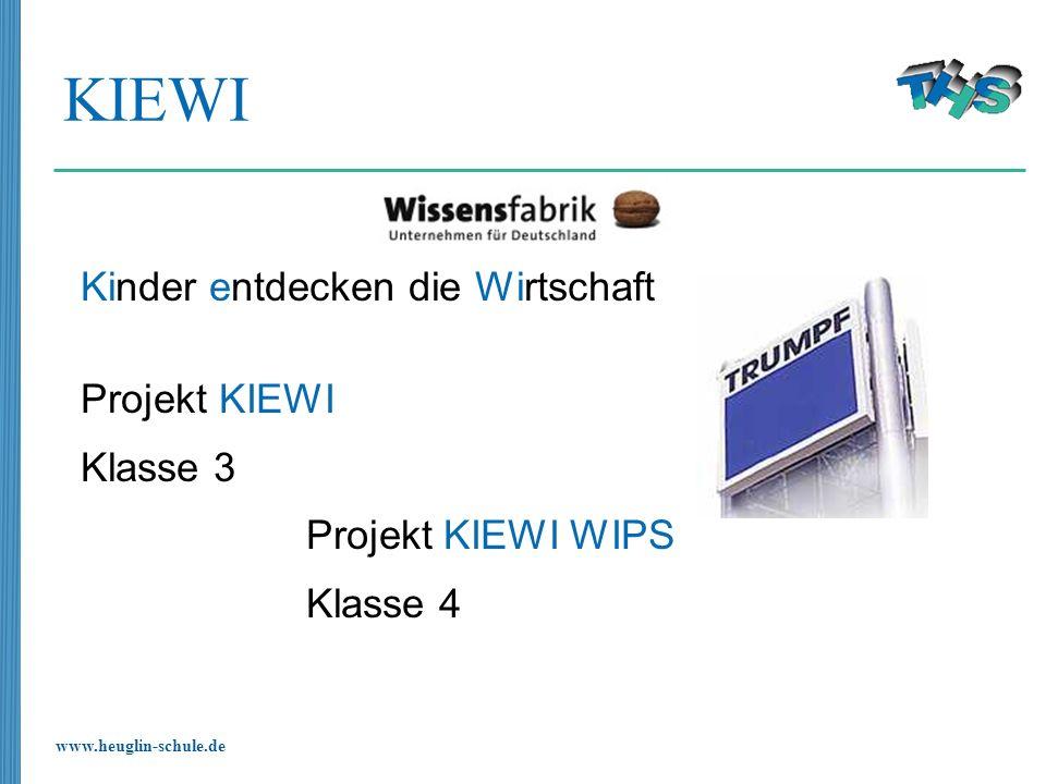 www.heuglin-schule.de KIEWI Kinder entdecken die Wirtschaft Projekt KIEWI Klasse 3 Projekt KIEWI WIPS Klasse 4