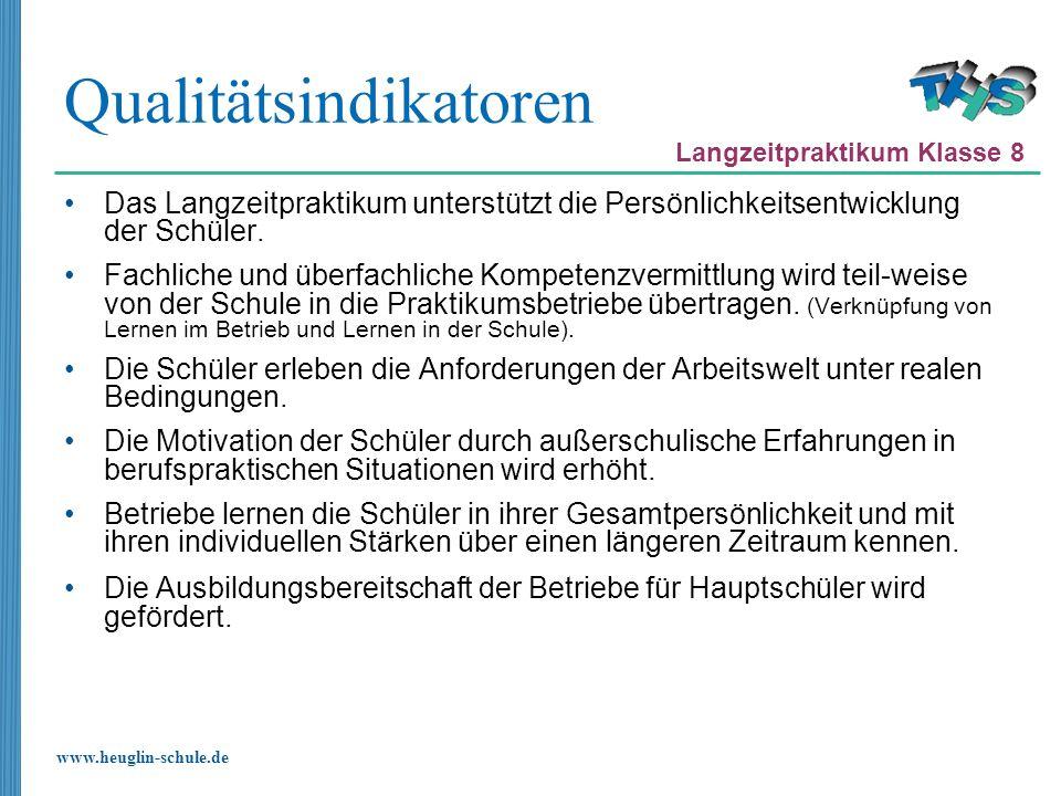 www.heuglin-schule.de Qualitätsindikatoren Das Langzeitpraktikum unterstützt die Persönlichkeitsentwicklung der Schüler. Fachliche und überfachliche K