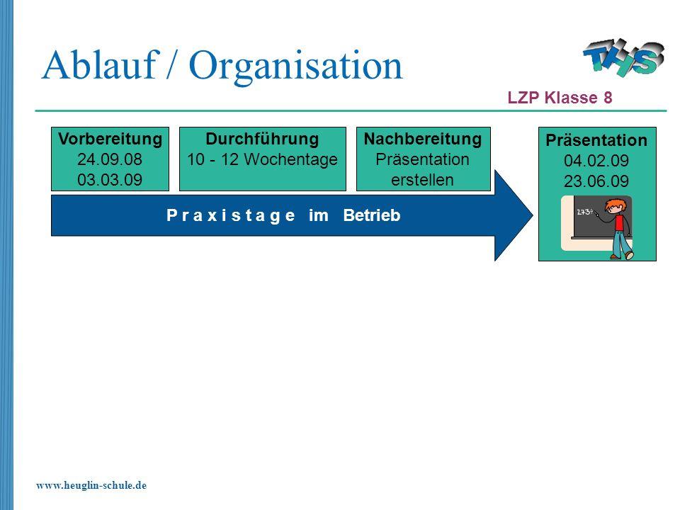 www.heuglin-schule.de P r a x i s t a g e im Betrieb Ablauf / Organisation Vorbereitung 24.09.08 03.03.09 Durchführung 10 - 12 Wochentage Nachbereitun