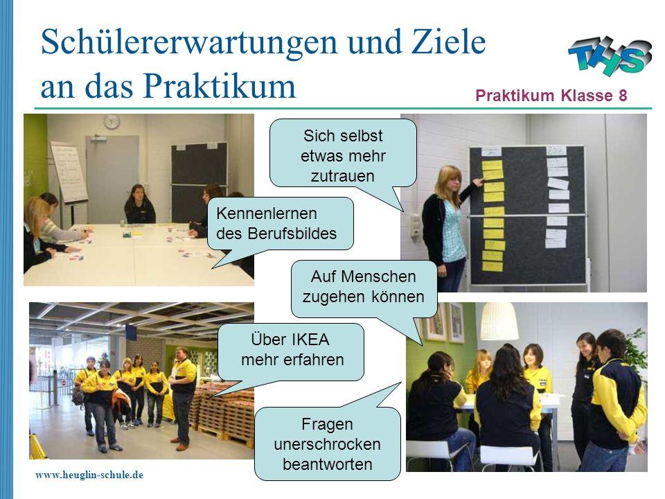 www.heuglin-schule.de Schülererwartungen und Ziele an das Praktikum Praktikum Klasse 8 Kennenlernen des Berufsbildes Sich selbst etwas mehr zutrauen A