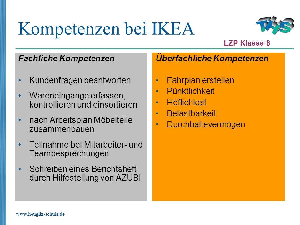 www.heuglin-schule.de Kompetenzen bei IKEA Fachliche Kompetenzen Kundenfragen beantworten Wareneingänge erfassen, kontrollieren und einsortieren nach
