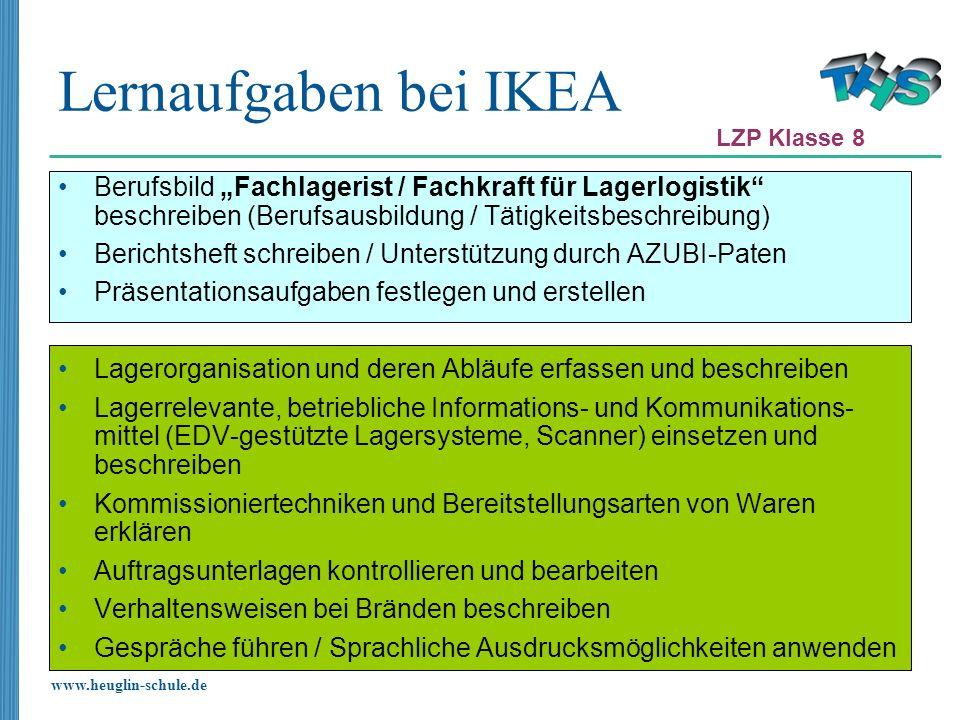 www.heuglin-schule.de Lernaufgaben bei IKEA Berufsbild Fachlagerist / Fachkraft für Lagerlogistik beschreiben (Berufsausbildung / Tätigkeitsbeschreibu