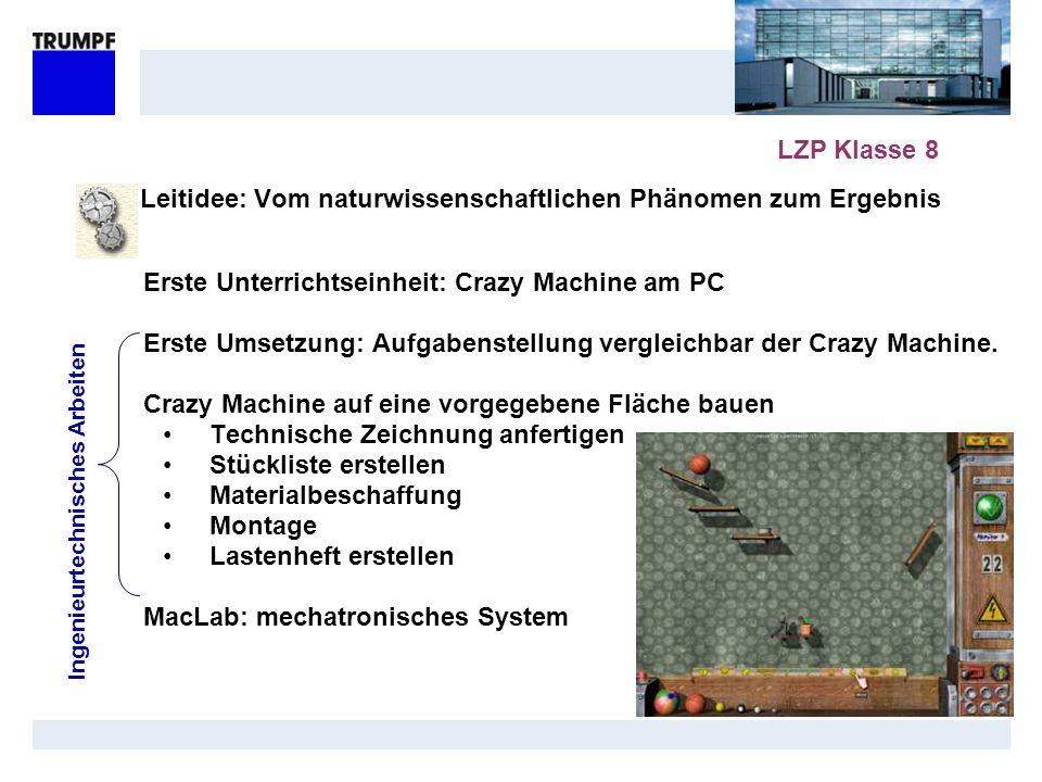 Leitidee: Vom naturwissenschaftlichen Phänomen zum Ergebnis Erste Unterrichtseinheit: Crazy Machine am PC Erste Umsetzung: Aufgabenstellung vergleichb