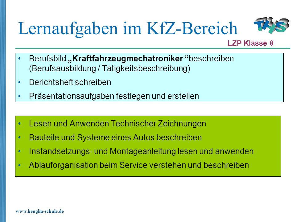 www.heuglin-schule.de Lernaufgaben im KfZ-Bereich Berufsbild Kraftfahrzeugmechatroniker beschreiben (Berufsausbildung / Tätigkeitsbeschreibung) Berich
