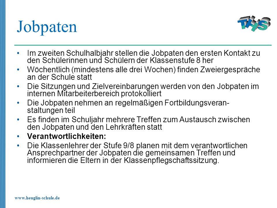 www.heuglin-schule.de Jobpaten Im zweiten Schulhalbjahr stellen die Jobpaten den ersten Kontakt zu den Schülerinnen und Schülern der Klassenstufe 8 he