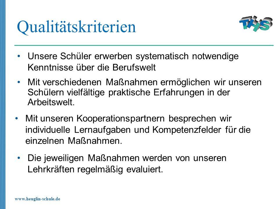 www.heuglin-schule.de Qualitätskriterien Mit verschiedenen Maßnahmen ermöglichen wir unseren Schülern vielfältige praktische Erfahrungen in der Arbeit