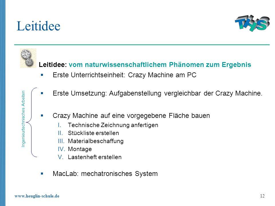 www.heuglin-schule.de 12 Leitidee Erste Unterrichtseinheit: Crazy Machine am PC Erste Umsetzung: Aufgabenstellung vergleichbar der Crazy Machine. Craz