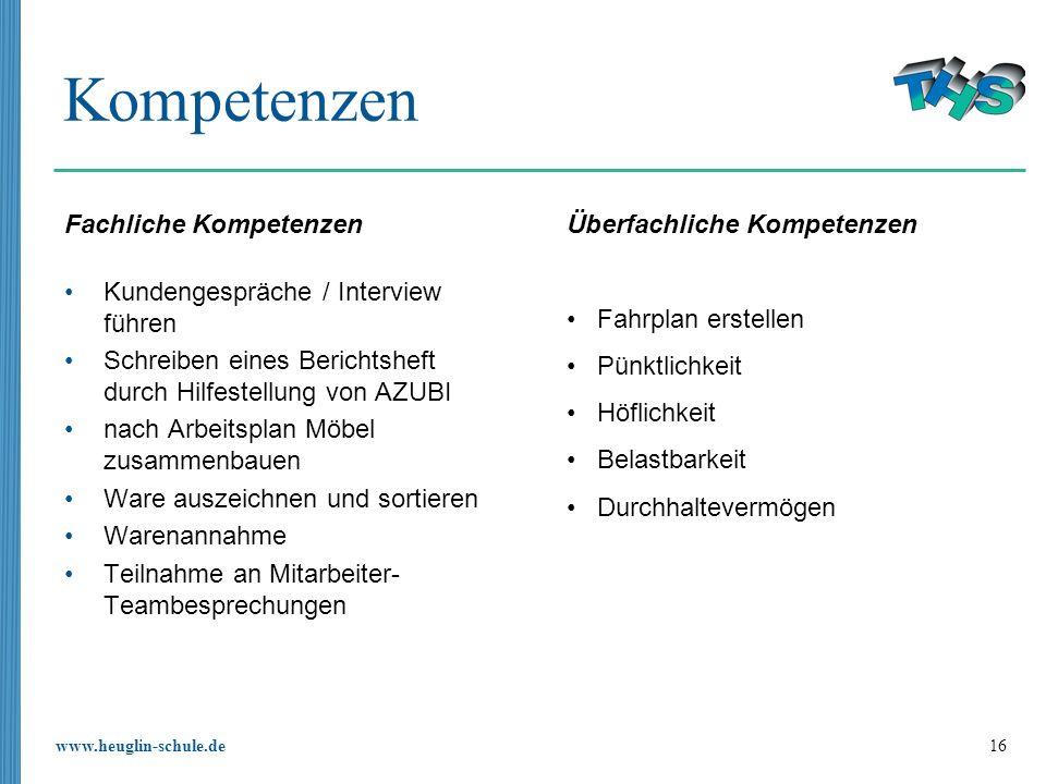 www.heuglin-schule.de 16 Kompetenzen Fachliche Kompetenzen Kundengespräche / Interview führen Schreiben eines Berichtsheft durch Hilfestellung von AZU