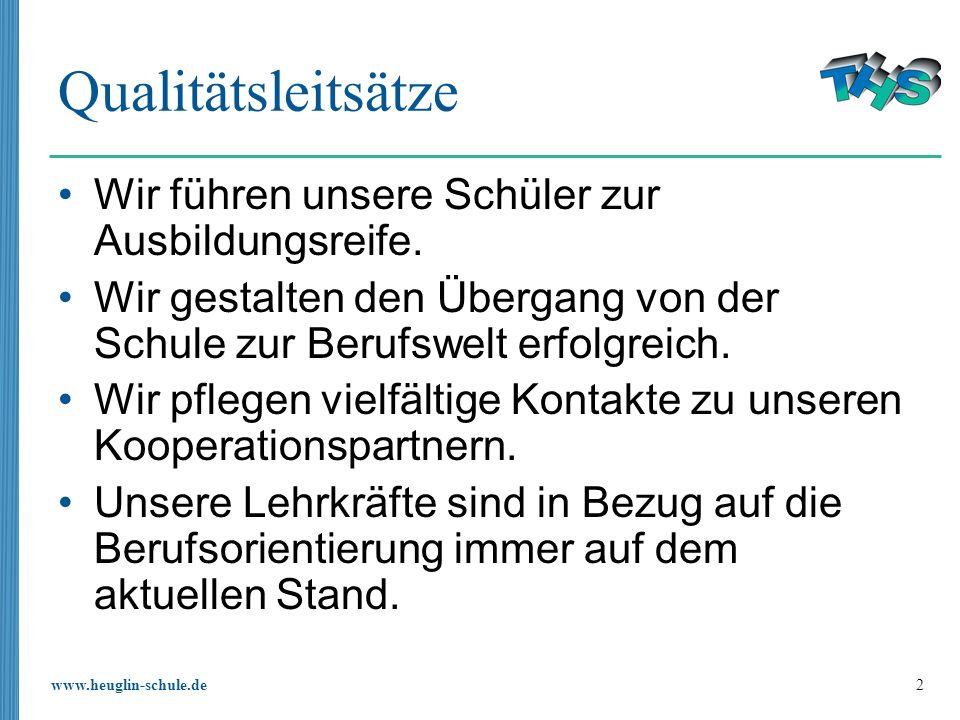 www.heuglin-schule.de 2 Qualitätsleitsätze Wir führen unsere Schüler zur Ausbildungsreife. Wir gestalten den Übergang von der Schule zur Berufswelt er