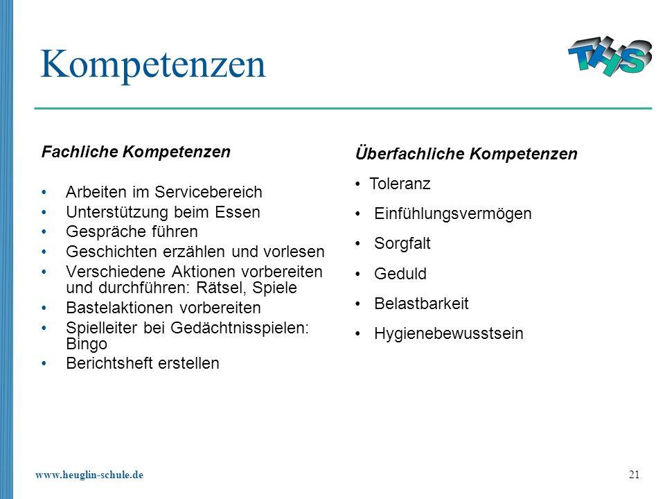 www.heuglin-schule.de 21 Kompetenzen Fachliche Kompetenzen Arbeiten im Servicebereich Unterstützung beim Essen Gespräche führen Geschichten erzählen u