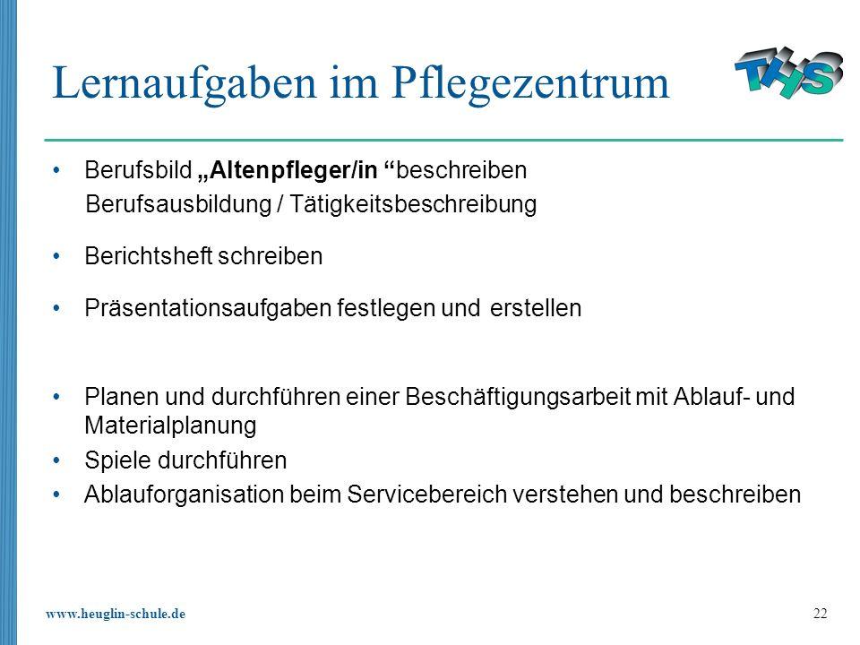 www.heuglin-schule.de 22 Lernaufgaben im Pflegezentrum Berufsbild Altenpfleger/in beschreiben Berufsausbildung / Tätigkeitsbeschreibung Berichtsheft s