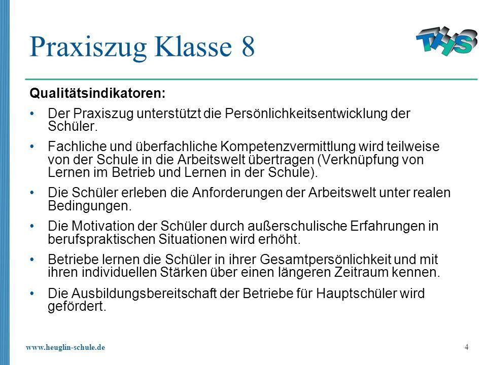 www.heuglin-schule.de 4 Praxiszug Klasse 8 Qualitätsindikatoren: Der Praxiszug unterstützt die Persönlichkeitsentwicklung der Schüler. Fachliche und ü
