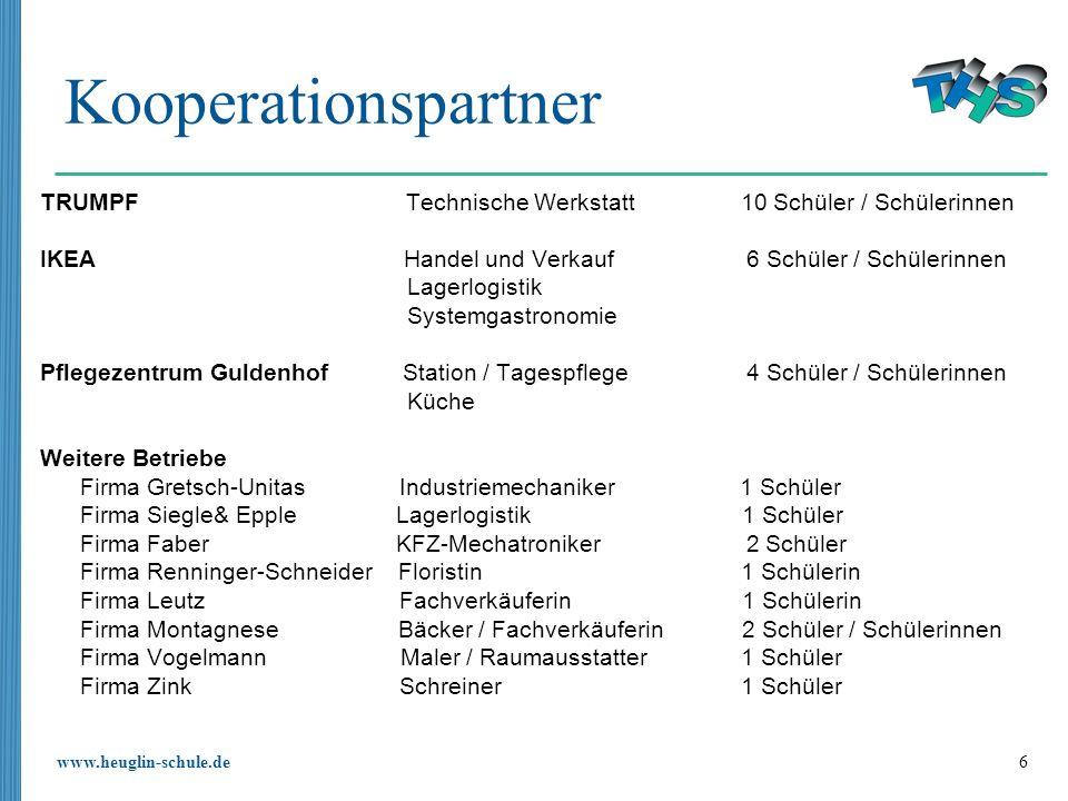 www.heuglin-schule.de 6 Kooperationspartner TRUMPF Technische Werkstatt 10 Schüler / Schülerinnen IKEA Handel und Verkauf 6 Schüler / Schülerinnen Lag