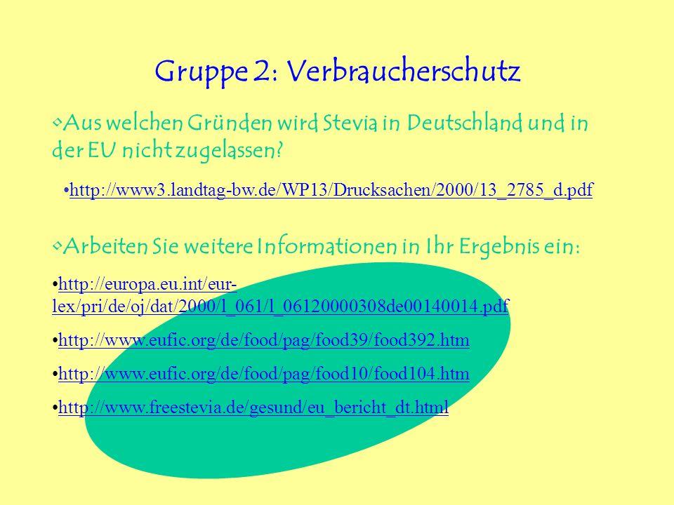 Gruppe 2: Verbraucherschutz Aus welchen Gründen wird Stevia in Deutschland und in der EU nicht zugelassen? Arbeiten Sie weitere Informationen in Ihr E