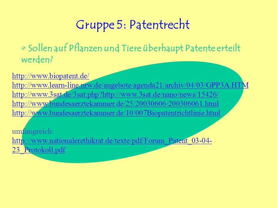 http://www.biopatent.de/ http://www.learn-line.nrw.de/angebote/agenda21/archiv/04/03/GPP3A.HTM http://www.3sat.de/3sat.php?http://www.3sat.de/nano/new