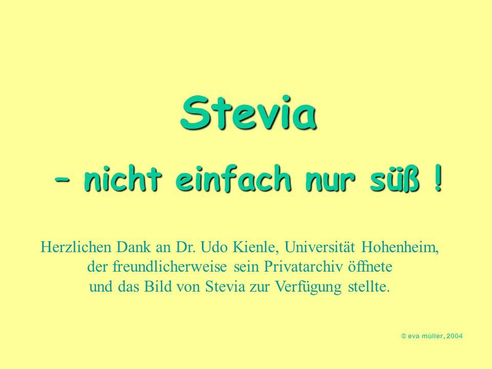 Herzlichen Dank an Dr. Udo Kienle, Universität Hohenheim, der freundlicherweise sein Privatarchiv öffnete und das Bild von Stevia zur Verfügung stellt