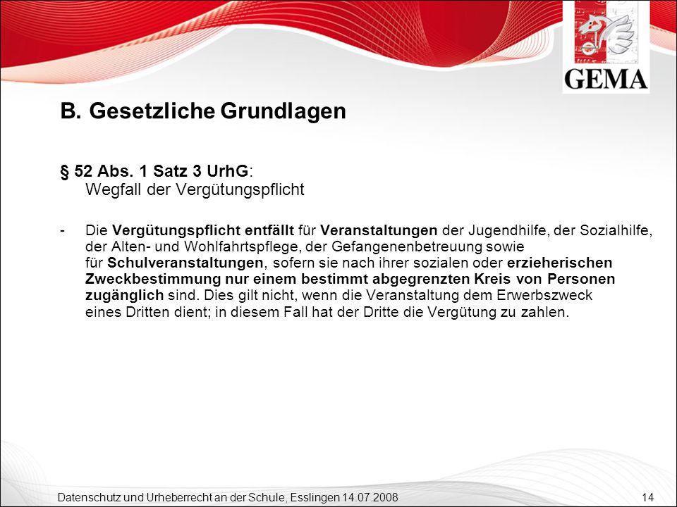 14 Datenschutz und Urheberrecht an der Schule, Esslingen 14.07.2008 § 52 Abs. 1 Satz 3 UrhG: Wegfall der Vergütungspflicht -Die Vergütungspflicht entf