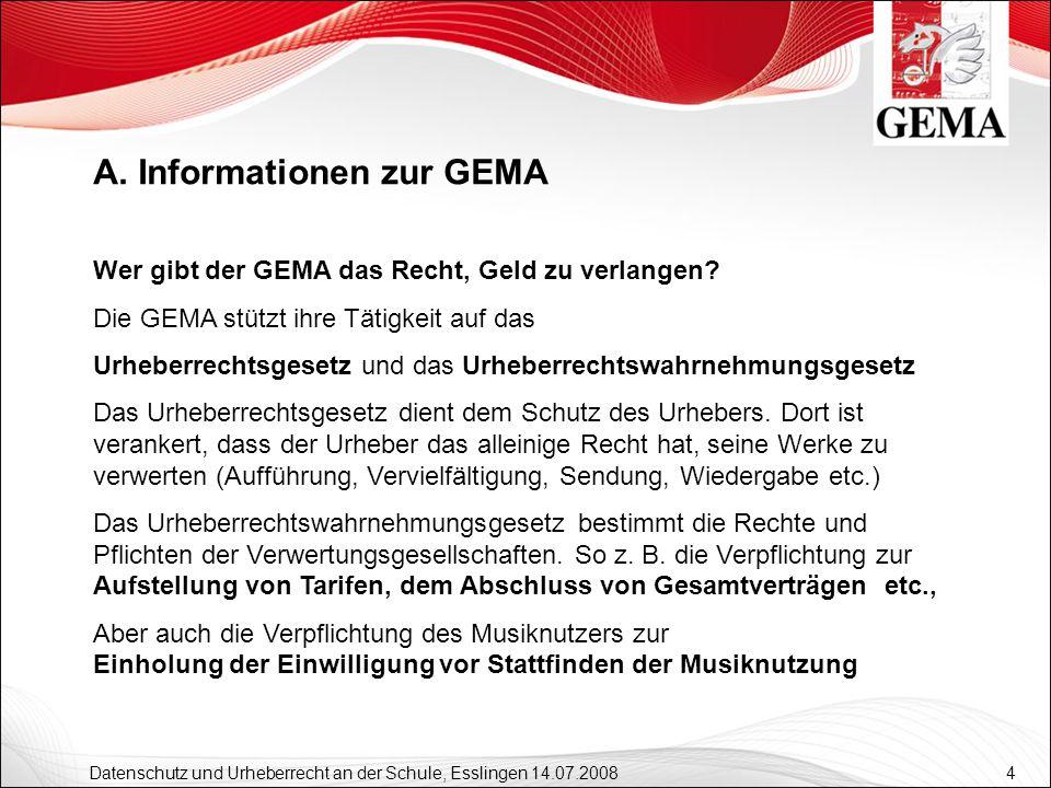4 Datenschutz und Urheberrecht an der Schule, Esslingen 14.07.2008 Wer gibt der GEMA das Recht, Geld zu verlangen? Die GEMA stützt ihre Tätigkeit auf
