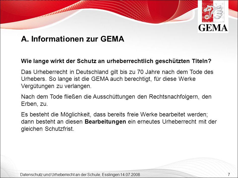 7 Datenschutz und Urheberrecht an der Schule, Esslingen 14.07.2008 Wie lange wirkt der Schutz an urheberrechtlich geschützten Titeln? Das Urheberrecht