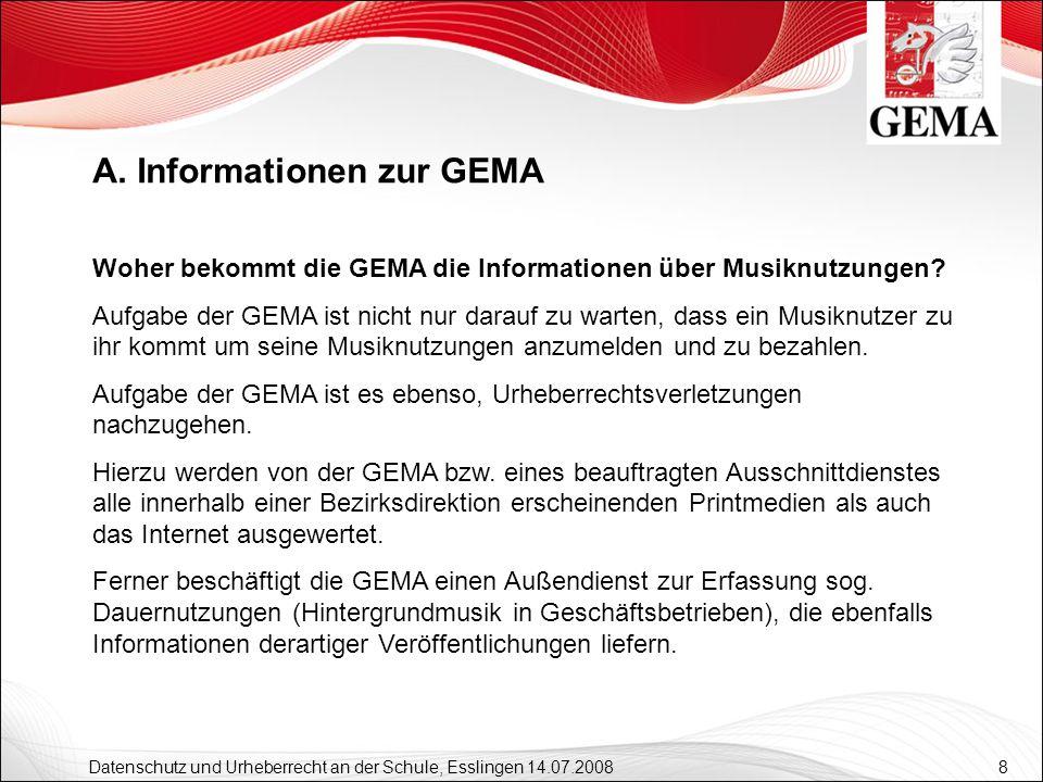 9 Datenschutz und Urheberrecht an der Schule, Esslingen 14.07.2008 Die GEMA-Vermutung Sofern der Musiknutzer der Ansicht ist, kein durch die GEMA geschütztes Repertoire zu spielen, muss er dieses der GEMA beweisen: GEMA-Vermutung (zurückzuführen auf die Rechtssprechung des Bundesgerichtshofes, gilt jedoch nur für den Bereich der Unterhaltungsmusik) A.