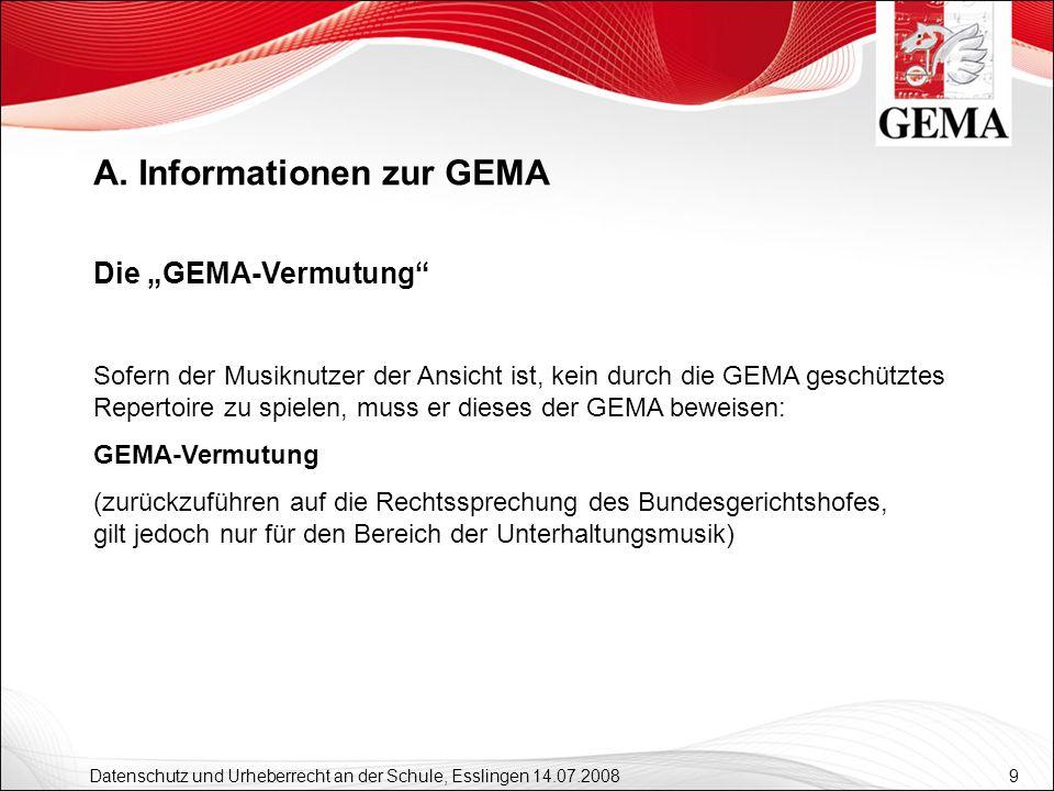 9 Datenschutz und Urheberrecht an der Schule, Esslingen 14.07.2008 Die GEMA-Vermutung Sofern der Musiknutzer der Ansicht ist, kein durch die GEMA gesc