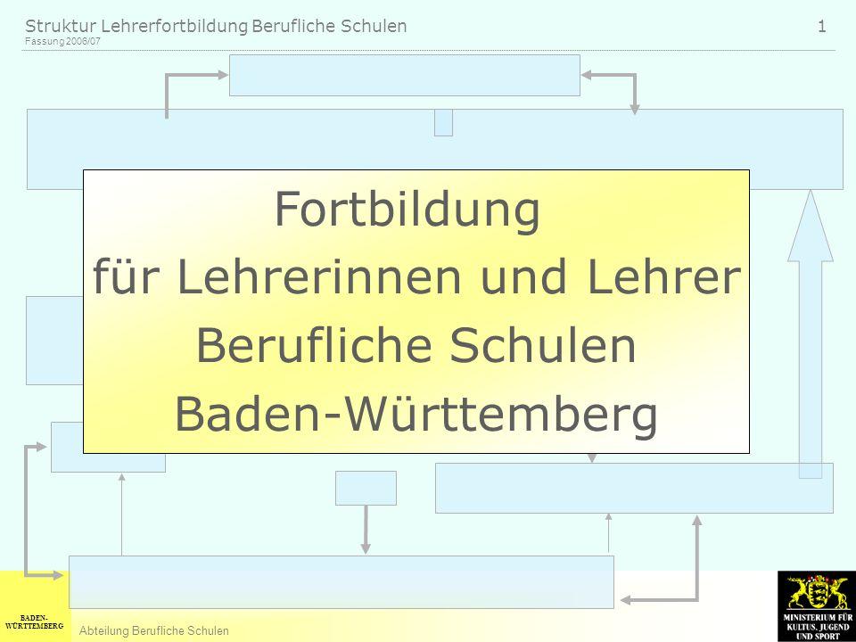 BADEN- WÜRTTEMBERG Abteilung Berufliche Schulen Fassung 2006/07 Struktur Lehrerfortbildung Berufliche Schulen 1 Fortbildung für Lehrerinnen und Lehrer Berufliche Schulen Baden-Württemberg
