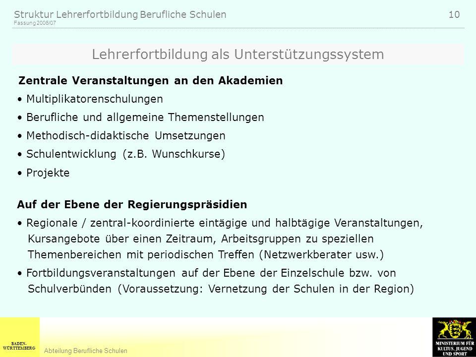 BADEN- WÜRTTEMBERG Abteilung Berufliche Schulen Fassung 2006/07 Struktur Lehrerfortbildung Berufliche Schulen 10 Zentrale Veranstaltungen an den Akade