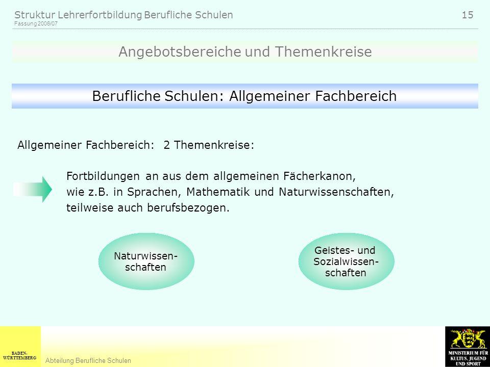 BADEN- WÜRTTEMBERG Abteilung Berufliche Schulen Fassung 2006/07 Struktur Lehrerfortbildung Berufliche Schulen 15 Geistes- und Sozialwissen- schaften N