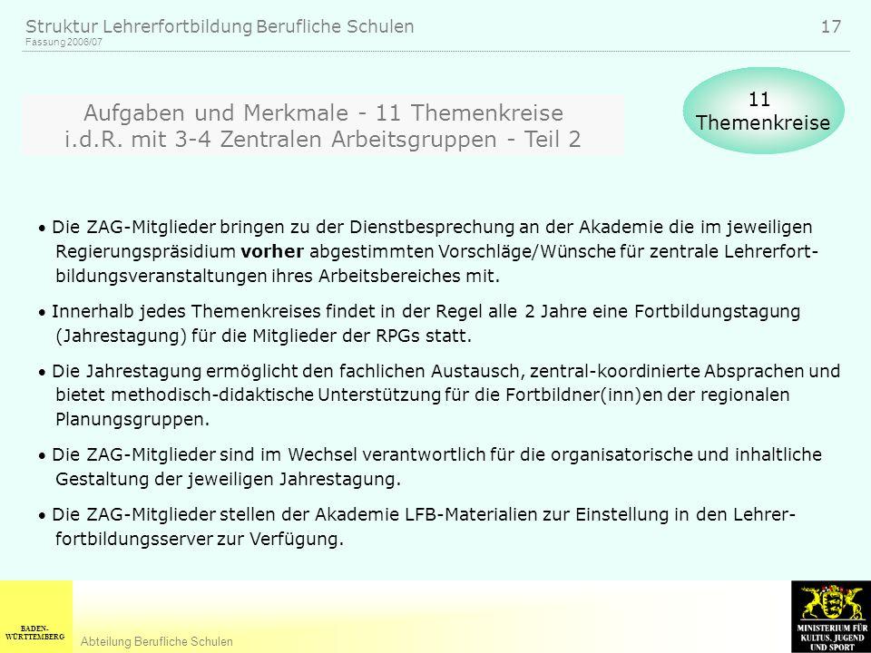 BADEN- WÜRTTEMBERG Abteilung Berufliche Schulen Fassung 2006/07 Struktur Lehrerfortbildung Berufliche Schulen 17 Aufgaben und Merkmale - 11 Themenkreise i.d.R.
