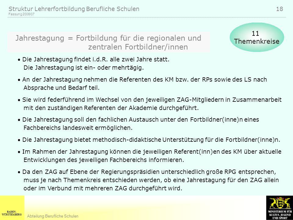 BADEN- WÜRTTEMBERG Abteilung Berufliche Schulen Fassung 2006/07 Struktur Lehrerfortbildung Berufliche Schulen 18 Jahrestagung = Fortbildung für die regionalen und zentralen Fortbildner/innen Die Jahrestagung findet i.d.R.