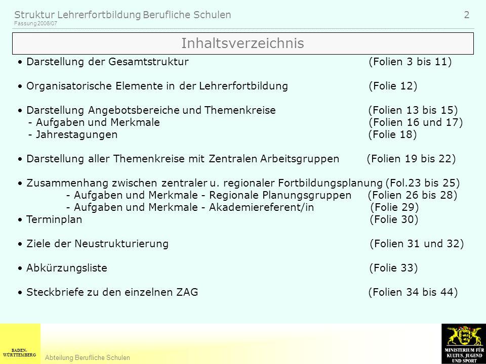 BADEN- WÜRTTEMBERG Abteilung Berufliche Schulen Fassung 2006/07 Struktur Lehrerfortbildung Berufliche Schulen 2 Inhaltsverzeichnis Darstellung der Ges