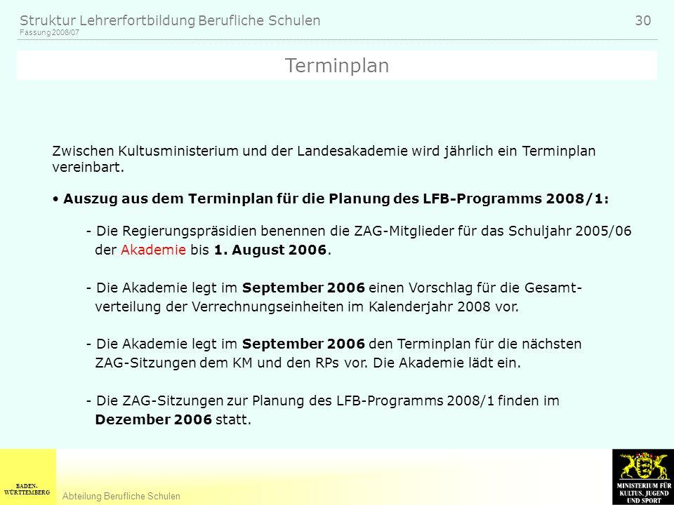 BADEN- WÜRTTEMBERG Abteilung Berufliche Schulen Fassung 2006/07 Struktur Lehrerfortbildung Berufliche Schulen 30 Zwischen Kultusministerium und der Landesakademie wird jährlich ein Terminplan vereinbart.
