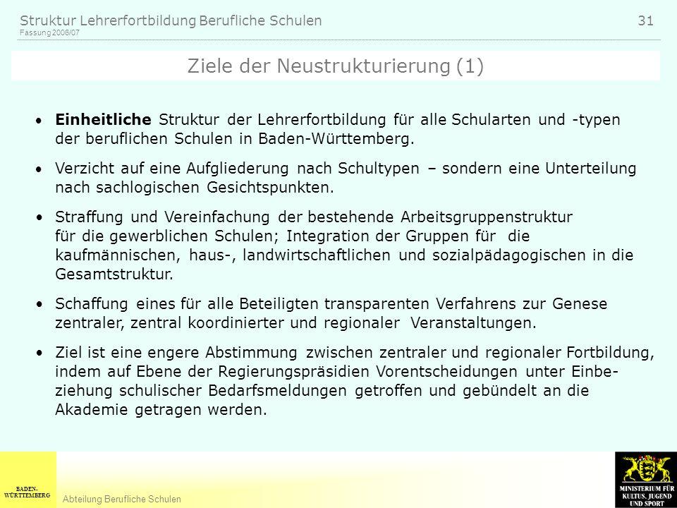 BADEN- WÜRTTEMBERG Abteilung Berufliche Schulen Fassung 2006/07 Struktur Lehrerfortbildung Berufliche Schulen 31 Einheitliche Struktur der Lehrerfortbildung für alle Schularten und -typen der beruflichen Schulen in Baden-Württemberg.