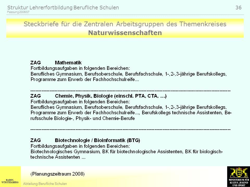 BADEN- WÜRTTEMBERG Abteilung Berufliche Schulen Fassung 2006/07 Struktur Lehrerfortbildung Berufliche Schulen 36 Steckbriefe für die Zentralen Arbeitsgruppen des Themenkreises Naturwissenschaften