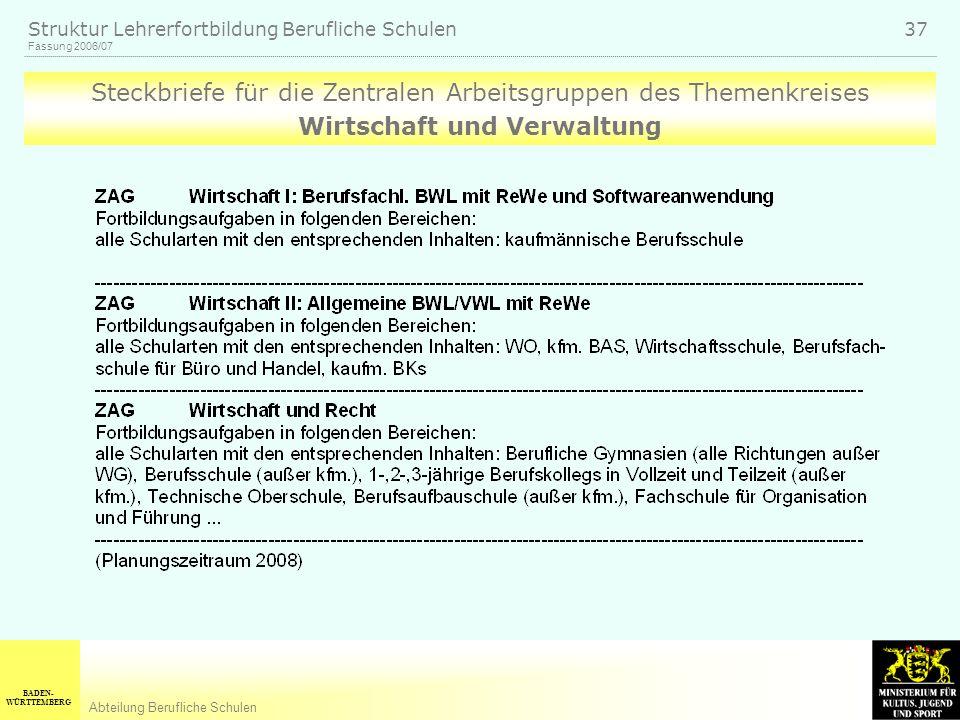 BADEN- WÜRTTEMBERG Abteilung Berufliche Schulen Fassung 2006/07 Struktur Lehrerfortbildung Berufliche Schulen 37 Steckbriefe für die Zentralen Arbeitsgruppen des Themenkreises Wirtschaft und Verwaltung