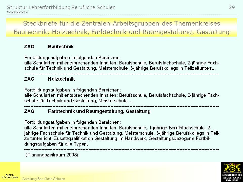 BADEN- WÜRTTEMBERG Abteilung Berufliche Schulen Fassung 2006/07 Struktur Lehrerfortbildung Berufliche Schulen 39 Steckbriefe für die Zentralen Arbeits