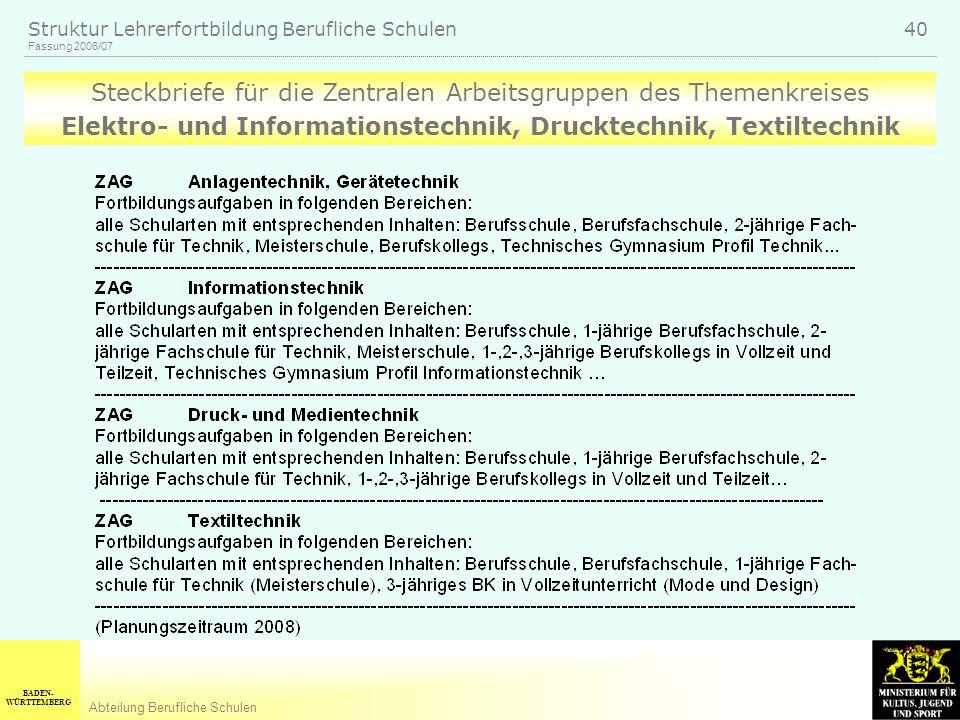 BADEN- WÜRTTEMBERG Abteilung Berufliche Schulen Fassung 2006/07 Struktur Lehrerfortbildung Berufliche Schulen 40 Steckbriefe für die Zentralen Arbeitsgruppen des Themenkreises Elektro- und Informationstechnik, Drucktechnik, Textiltechnik